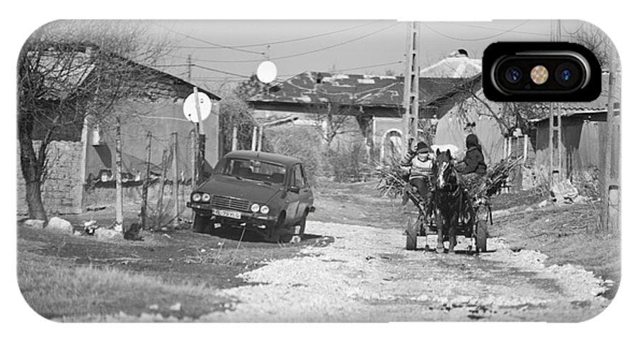 Horse Drawn Cart IPhone X / XS Case featuring the photograph Car Vs Horse Cart by Gabriela Insuratelu
