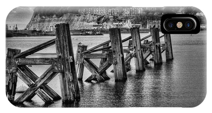 Cardiff Bay Jetty IPhone X Case featuring the photograph Cardiff Bay Old Jetty Supports Mono by Steve Purnell