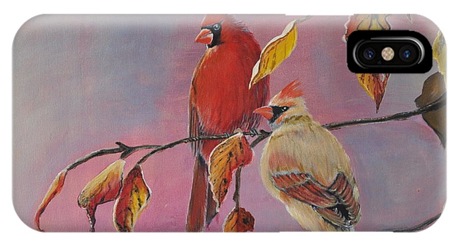 Cardinal IPhone X Case featuring the painting Cardinals In Falls by Preethi Mathi