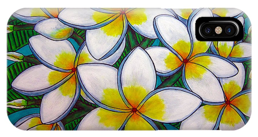 Frangipani IPhone X Case featuring the painting Caribbean Gems by Lisa Lorenz