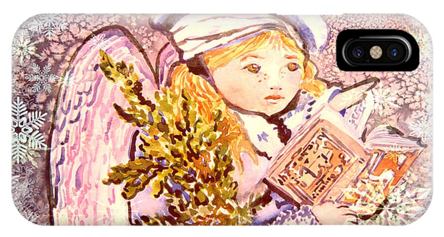 Angel IPhone X Case featuring the painting Caroling Angel by Mindy Newman