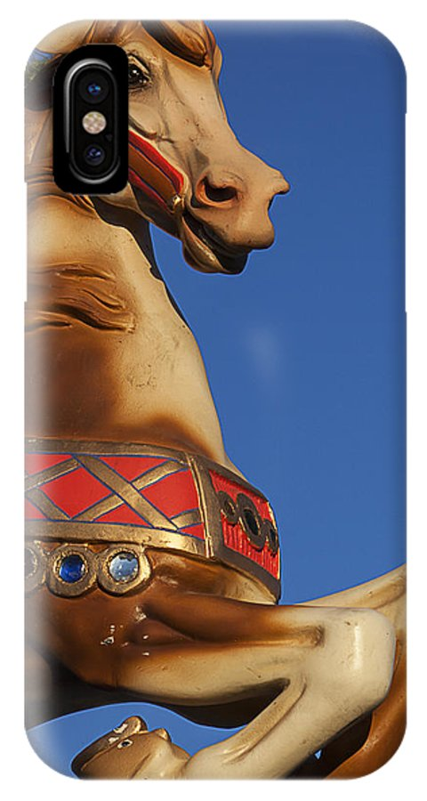Carousel Horse IPhone X Case featuring the photograph Carousel Horse Against Blue Sky by Garry Gay