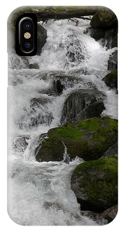 Mossy Rocks With Water Fall IPhone X Case featuring the photograph Cascades Below by Christy Leigh