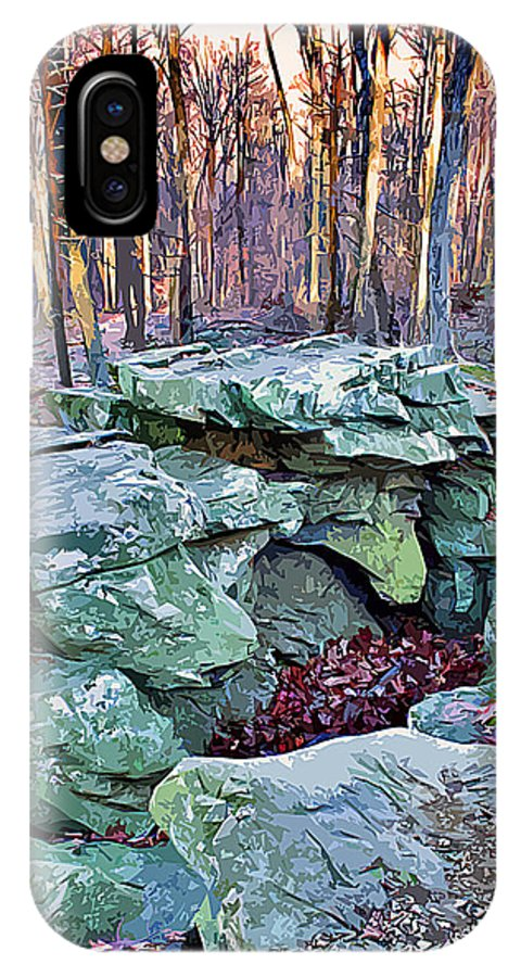 Catoctin Mountain Park IPhone X Case featuring the digital art Catoctin Rock by Stephen Younts