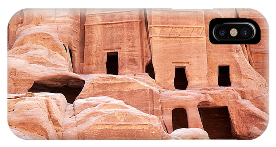 Ancient IPhone X Case featuring the photograph Cave Dwellings Petra. by Jane Rix