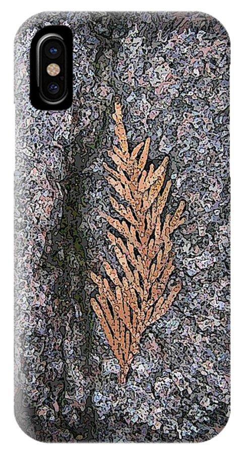 Cedar IPhone X Case featuring the digital art Cedar On Granite by Tim Allen