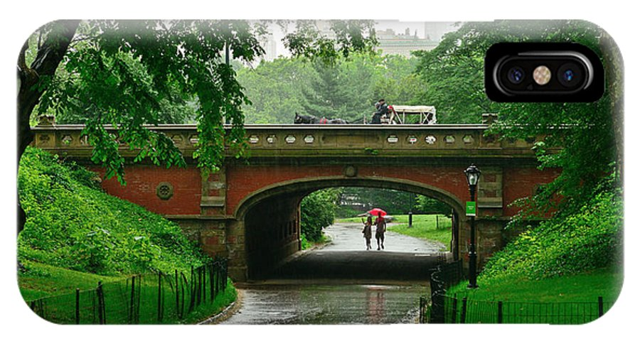 New York IPhone X Case featuring the photograph Central Park In The Rain by Greg Norrell