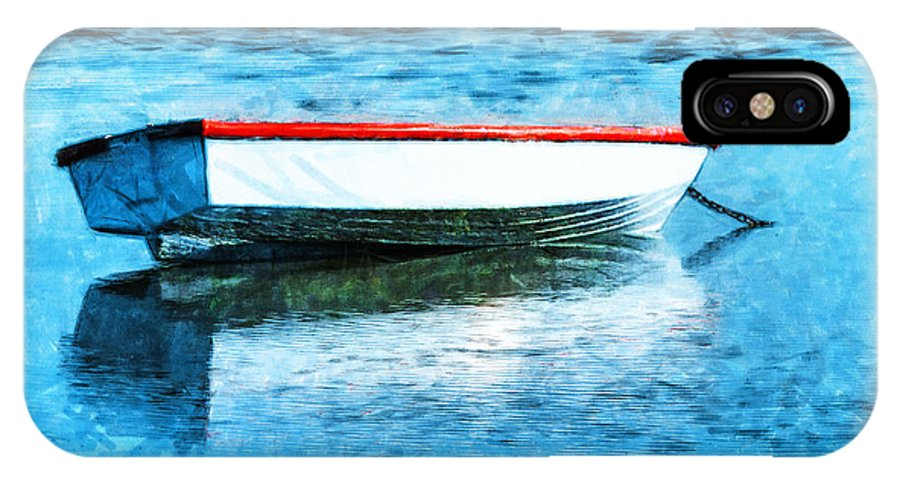 Boat IPhone X / XS Case featuring the photograph Chained By The Tide by Steve Taylor