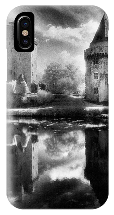 Architecture; Exterior; French; Medieval; Gothic; Fort; Fortress; Lake; Moat; Moated; Reflection; Castellated; Crenellations; Towers; Atmospheric; Ruin; Ruined; Ruins; Remains; Castle; Picturesque; Spooky; Eerie; Moonlit; Moonlight; Fairytale; Haunted IPhone X Case featuring the photograph Chateau De Largoet by Simon Marsden