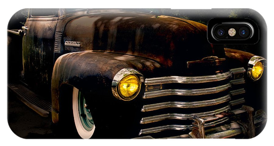 Chevrolet IPhone X Case featuring the photograph Chevy Hot Rat Rod Pickup Cowgirl's Last Stand by Chas Sinklier