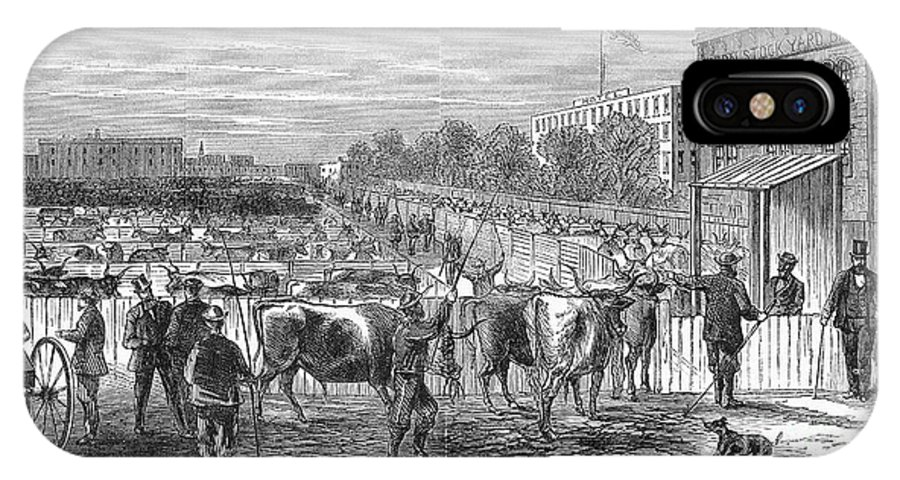 1868 IPhone X Case featuring the photograph Chicago: Cattle Market by Granger