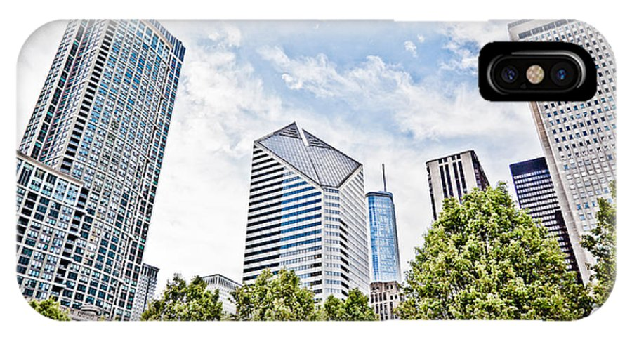 Chicago IPhone X Case featuring the photograph Chicago Skyline At Millenium Park by Paul Velgos