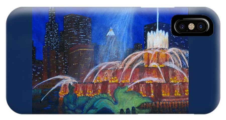 Chicago Painting IPhone X Case featuring the painting Chicago's Buckingham Fountain by J Loren Reedy