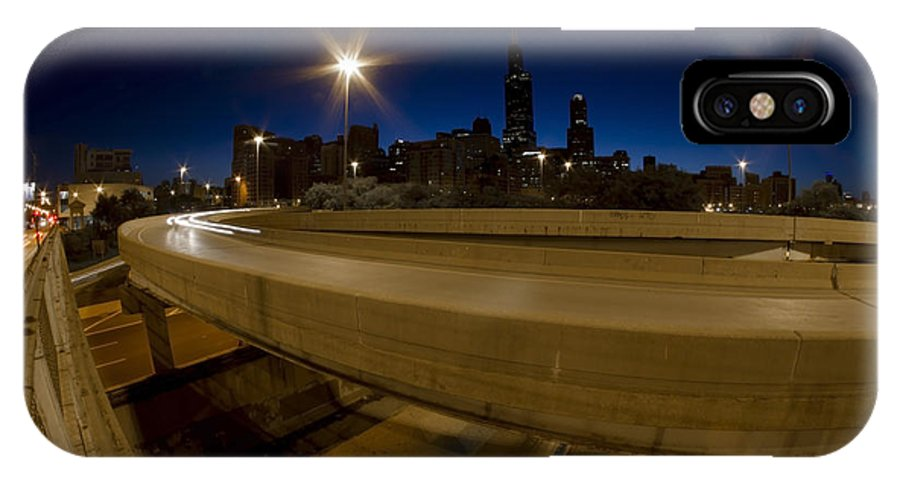 Chicago IPhone X Case featuring the photograph Chicago's Spaghetti Bowl Interchange At Dawn by Sven Brogren