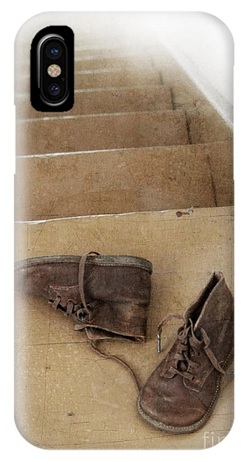 Shoes IPhone X Case featuring the photograph Child's Shoes By Stairs by Jill Battaglia