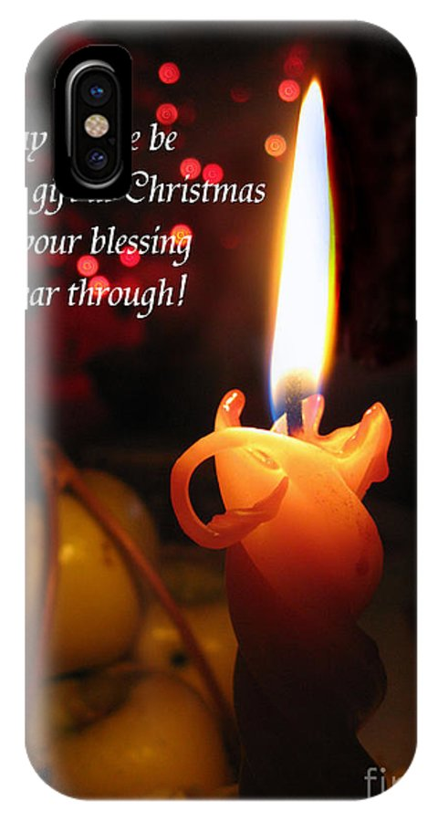 Christmas Candle IPhone X Case featuring the photograph Christmas Candle Peace Greeting by Ausra Huntington nee Paulauskaite