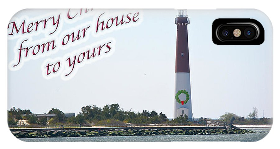 Christmas IPhone X Case featuring the photograph Christmas Lighthouse Card - From Our House To Yours Card by Mother Nature