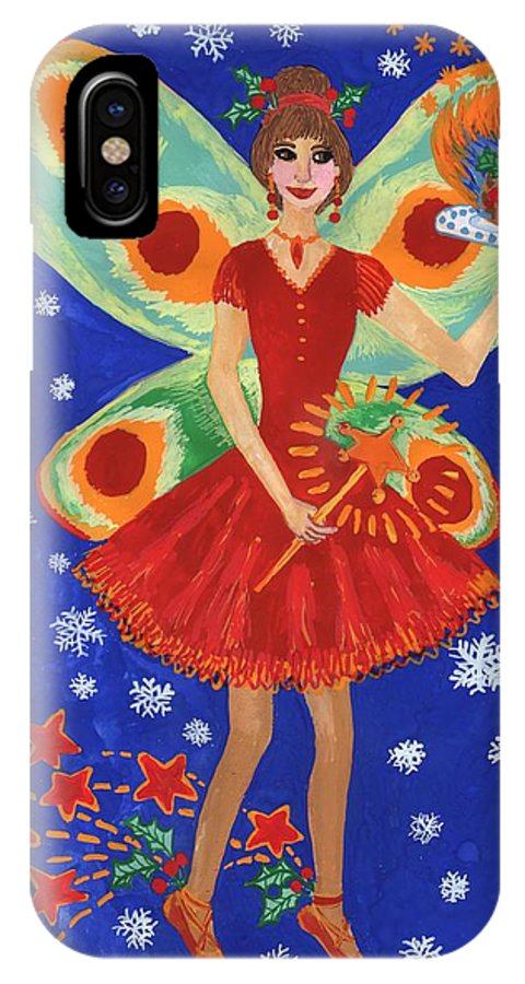 Fairy IPhone X Case featuring the painting Christmas Pudding Fairy by Sushila Burgess