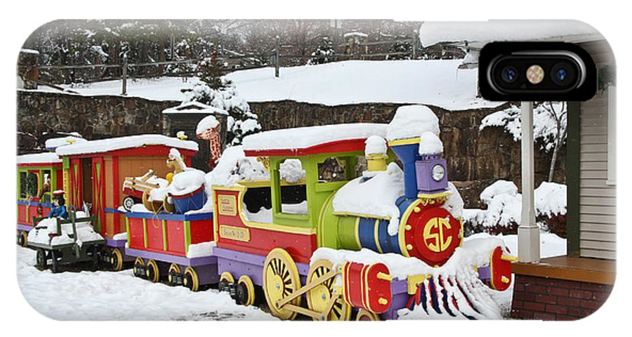 Christmas IPhone X Case featuring the photograph Christmas Train by Tom and Pat Cory