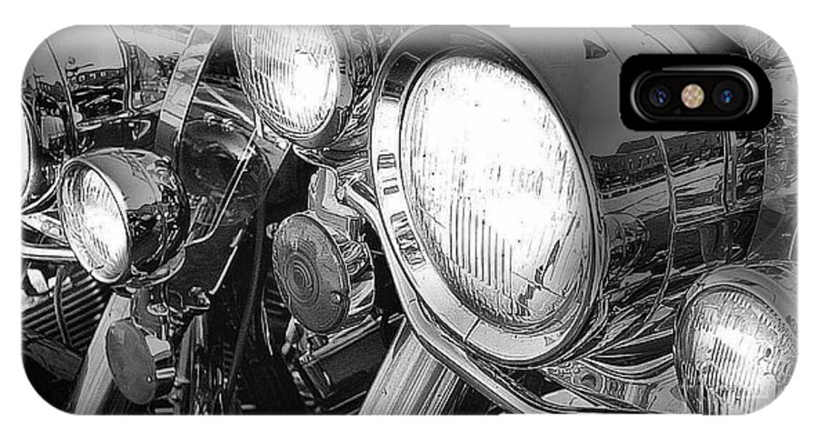 motorcycles IPhone X / XS Case featuring the photograph Chrome And Lights by David Hubbs