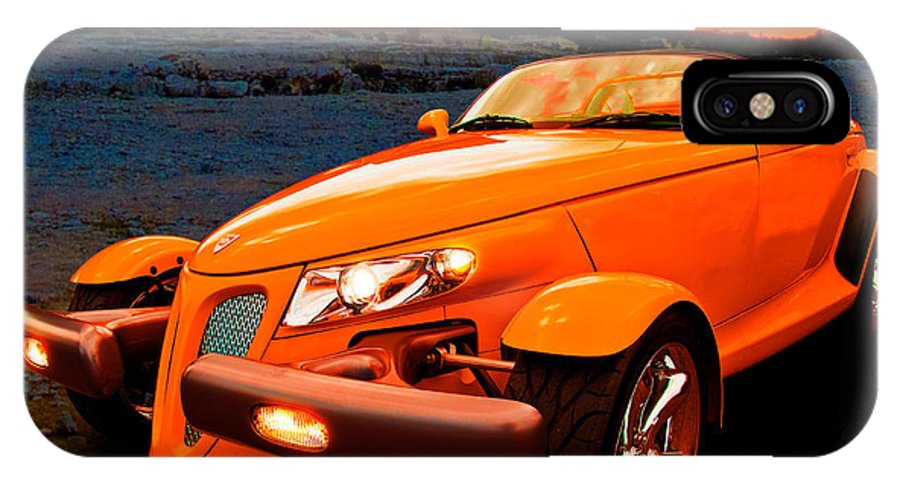 Chrysler IPhone X Case featuring the photograph Chrysler Plymouth Prowler Rocky Sunset by Chas Sinklier