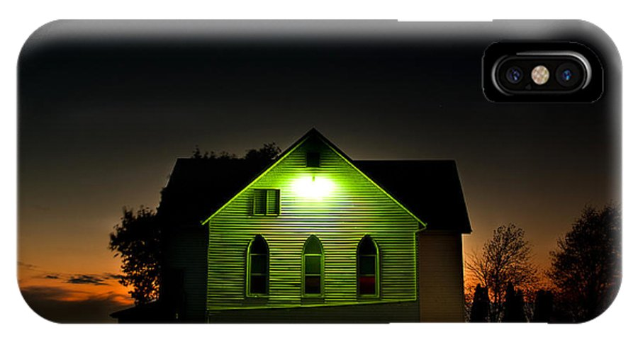 Landscape IPhone X Case featuring the photograph Church At Sunset by Cale Best