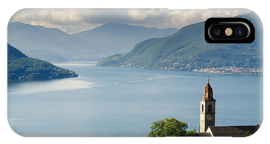 Church IPhone X Case featuring the photograph Church Close To An Alpine Lake by Mats Silvan
