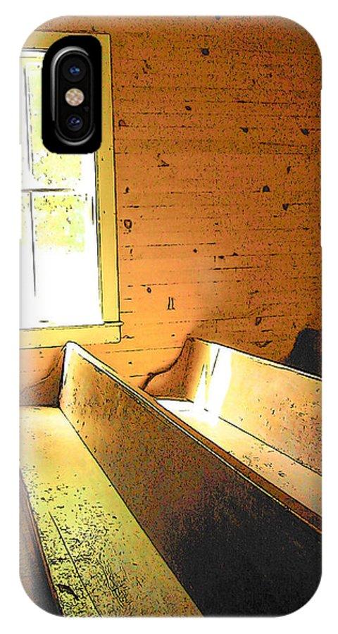 Rebecca Korpita IPhone X / XS Case featuring the photograph Church Pews - Light Through Window by Rebecca Korpita