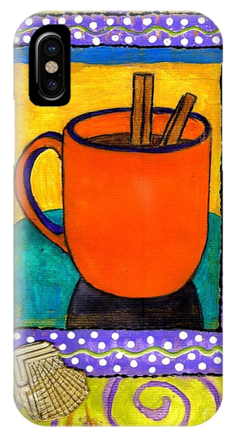 Cinnamon IPhone X Case featuring the mixed media Cinnamon Brew by Angela L Walker