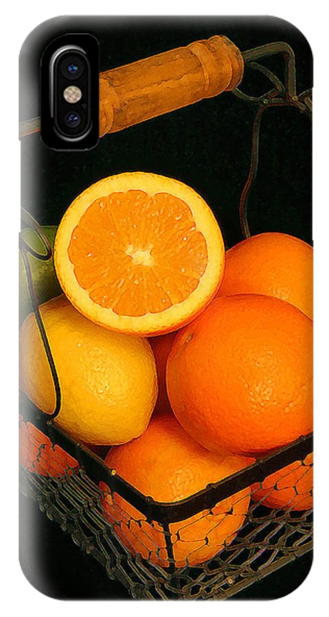 Citrus IPhone X Case featuring the photograph Citrus Fruit Basket by Cindy Haggerty