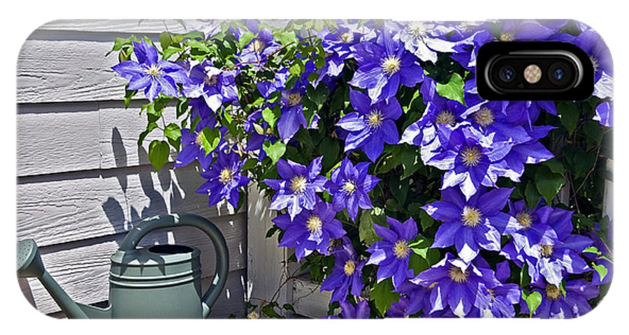 Clematis IPhone X Case featuring the photograph Clematis And Watering Can by Susan Leggett