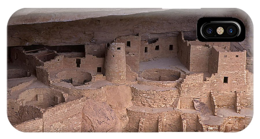 Cliff Palace; Mesa Verde; Cliff Dwellings; Mesa Verde National Park; National Park; Prehistoric; Pueblo; Adobe; Cultural Site; Historic; Archaeological Site; Ancestoral Puebloans; Puebloan; Anasazi; Native People; Native American; American Indians; Prehistoric Indians; Kiva; Architecture; Ruins; Historical Preservation; Restoration; Heritage IPhone X Case featuring the photograph Cliff Palace At Mesa Verde by John Arnaldi
