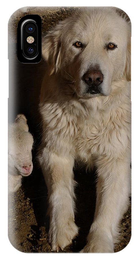 Great Pyrenees IPhone X Case featuring the photograph Close Personal Protection by Charles and Melisa Morrison