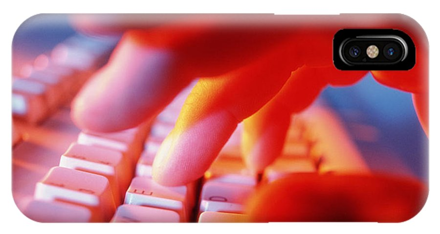 Keyboard IPhone X Case featuring the photograph Close-up Of A Person Typing On A Computer Keyboard by Tek Image