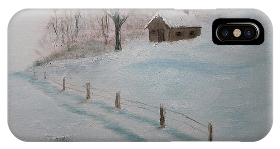 Landscape IPhone X Case featuring the painting Closed For The Season by Peggy King