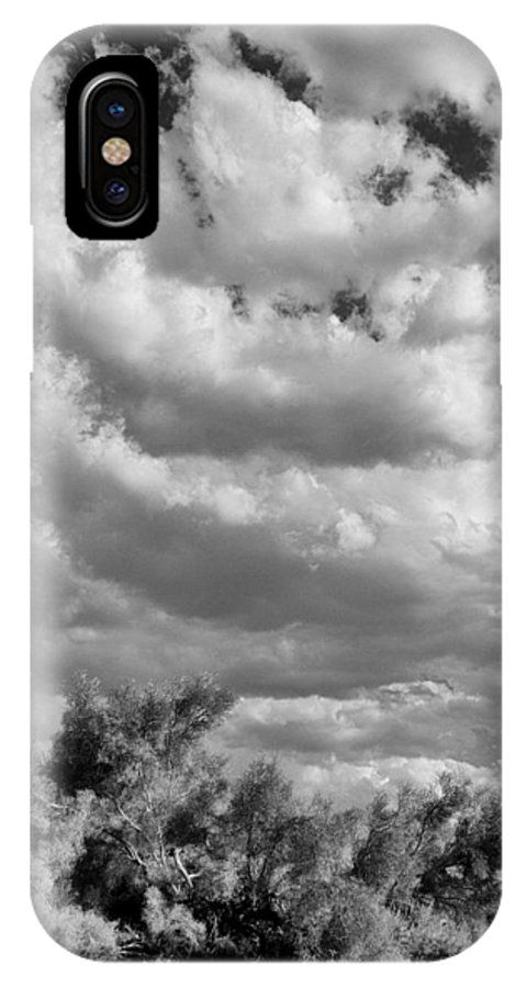 Desert IPhone X Case featuring the photograph Clouds Rising Bw Palm Springs by William Dey