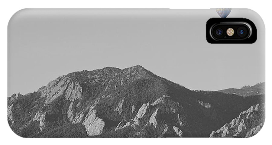 'hot Air Balloon' IPhone X Case featuring the photograph Co Rocky Mountain Front Range Hot Air Balloon View Bw by James BO Insogna