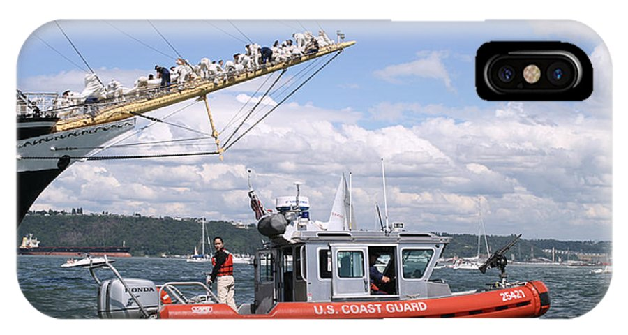 Coast Guard IPhone X Case featuring the photograph Coast Guard With Tall Ships by Kym Backland