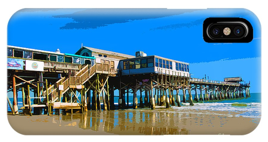 Florida IPhone X Case featuring the painting Cocoa Beach Pier by Allan Hughes