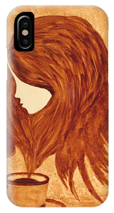 Abstract Woman IPhone X / XS Case featuring the painting Coffee Break Coffee Painting by Georgeta Blanaru