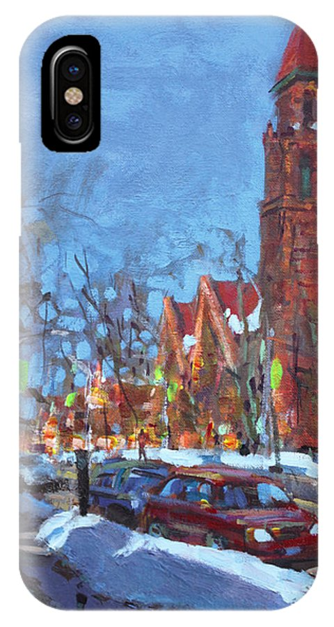 Elmwood Ave IPhone X Case featuring the painting Cold Morning In Elmwood Ave by Ylli Haruni