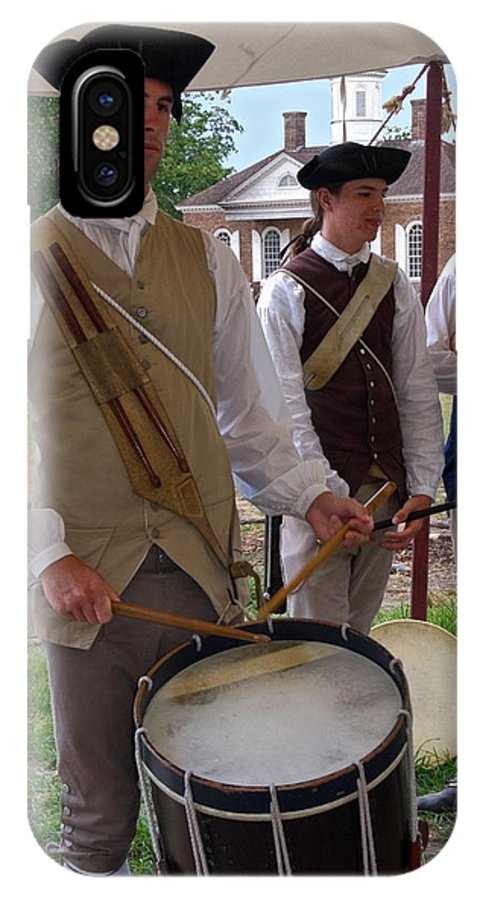 Young Man Playing Drum IPhone X Case featuring the photograph Colonial Drummer by Sally Weigand