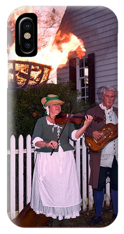 2 Musicians Playing IPhone X Case featuring the photograph Colonial Musicians By Firelight by Sally Weigand