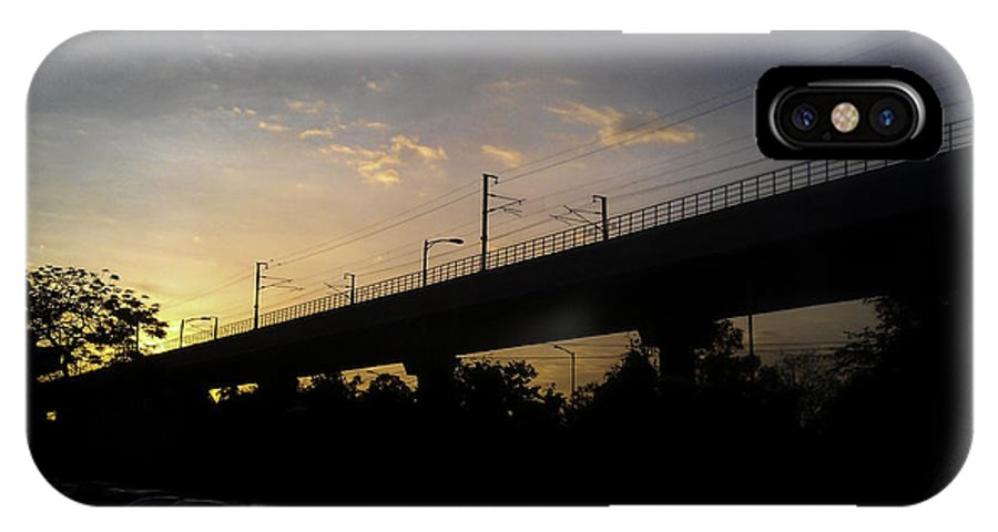 8 Mp IPhone X Case featuring the photograph Color Of Sunset Over Metro Pillar In Delhi by Ashish Agarwal