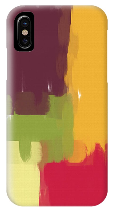 Abstract IPhone X Case featuring the painting Colorblock Winter by Heidi Smith