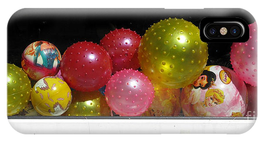 Still Life IPhone X Case featuring the photograph Colorful Balls In The Shop Window by Ausra Huntington nee Paulauskaite