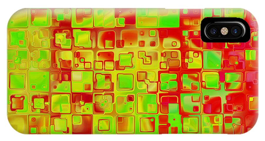 Abstract IPhone X Case featuring the digital art Colorful Squares II by Debbie Portwood