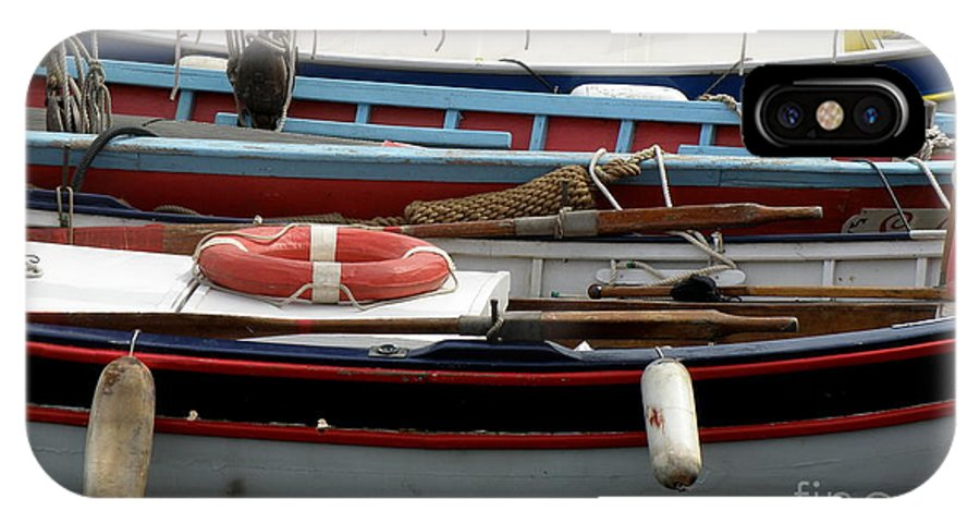 Boats IPhone X / XS Case featuring the photograph Colorful Wooden Boats by Lainie Wrightson