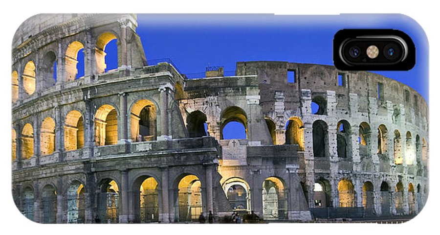 Colosseum IPhone X Case featuring the photograph Colosseum At Blue Hour by Michael Yeager