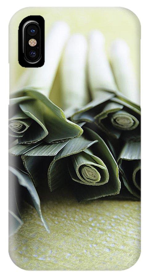 Common Leek IPhone X Case featuring the photograph Common Leeks by Veronique Leplat
